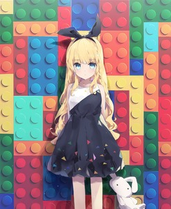 Rating: Safe Score: 3 Tags: 1girl :| abstract_background absurdres against_wall animal_ears arms_behind_back bangs bare_arms bare_legs black_dress blonde_hair blue_eyes breasts bunny_ears bunny_girl closed_mouth collarbone dress expressionless extra_ears eyebrows_visible_through_hair headband highres holding holding_stuffed_animal huge_filesize lego light_particles long_hair looking_at_viewer multicolored_background multicoloured multicoloured_clothes multicoloured_dress original patterned patterned_clothing shiny shiny_hair sidelocks sleeveless sleeveless_dress small_breasts solo standing stuffed_animal stuffed_bunny stuffed_toy tr_(hareru) wavy_hair User: DMSchmidt