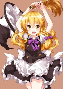 Rating: Safe Score: 0 Tags: 1girl apron arms_up black_footwear black_skirt black_vest blonde_hair braid broom cowboy_shot eyebrows_visible_through_hair folded_leg hair_between_eyes hair_ribbon hat hat_loss hat_removed headwear_removed highres holding holding_broom kirisame_marisa long_hair looking_at_viewer open_mouth puffy_short_sleeves puffy_sleeves purple_ribbon ribbon ruu_(tksymkw) shiny shiny_hair shirt short_sleeves simple_background single_braid skirt solo standing standing_on_one_leg tan_background touhou_project tress_ribbon upper_teeth very_long_hair vest waist_apron white_shirt witch_hat yellow_eyes User: DMSchmidt