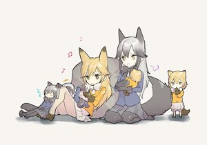 Rating: Safe Score: 2 Tags: +++ 6+girls :o =3 animal_ears baby bean_bag_chair black_gloves black_legwear black_neckwear blonde_hair blue_jacket bow bowtie brown_eyes brown_gloves closed_eyes extra_ears ezo_red_fox_(kemono_friends) fox_ears fox_tail fur-trimmed_sleeves fur_trim gloves grey_hair handheld_game_console highres if_they_mated implied_yuri ips_cells jacket kemono_friends long_hair multiple_girls musical_note omucchan_(omutyuan) orange_jacket pantyhose playing_games reclining silver_fox_(kemono_friends) skirt sleeping tail toddlercon white_legwear white_neckwear white_skirt zzz User: Domestic_Importer