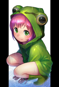 Rating: Safe Score: 0 Tags: 1girl arm_support bangs boots closed_mouth drawstring frog_hood frog_raincoat frown full_body green_eyes green_footwear highres hood hood_up kalua long_sleeves looking_at_viewer original outside_border pillarboxed pink_hair rain raincoat rubber_boots short_hair solo squatting wet zipper User: DMSchmidt