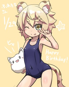 Rating: Safe Score: 0 Tags: 1girl :3 ;p animal_ears bangs blonde_hair blue_swimsuit blush blush_stickers borrowed_character breasts cleavage contrapposto covered_navel cowboy_shot eyebrows eyebrows_visible_through_hair fukurou green_eyes hair_ornament hairclip happy_birthday lion_ears lion_tail looking_at_viewer o_o one-piece_swimsuit one_eye_closed original school_swimsuit small_breasts solo standing star swimsuit tail thick_eyebrows timestamp tongue tongue_out toramimi-senpai v v_over_eye yellow_background User: DMSchmidt