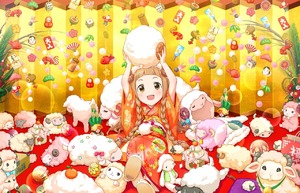 Rating: Safe Score: 0 Tags: 1girl :d annin_doufu annindoufu_(oicon) artist_request ball bangs blunt_bangs blush braid brown_eyes brown_hair check_artist dice fish floral_print food holding ichihara_nina idolmaster idolmaster_cinderella_girls idolmaster_cinderella_girls_starlight_stage japanese_clothes kadomatsu kagami_mochi kimono long_hair looking_at_viewer mochi new_year obi official_art open_mouth orange_kimono sandals sash sekina sheep sitting smile solo stuffed_animal stuffed_toy twin_braids wagashi User: DMSchmidt