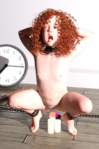 Rating: Explicit Score: 41 Tags: 1girl 3dcg bdsm bondage bound brown_hair candle clock closed_eyes curly_hair dildo flagen flat_chest highres long_hair navel nipples nude open_mouth pain photorealistic pussy red_hair self_upload sex_toy slave solo spread_legs tears torture User: Flagen