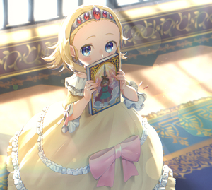 Rating: Safe Score: 1 Tags: 1girl absurdres anlucea backlighting blonde_hair blue_eyes blurry blush bokeh book bow cameo carpet covering_mouth day depth_of_field dragon_quest dragon_quest_iii dragon_quest_x dress feet_out_of_frame fingernails flipped_hair forehead frilled_dress frills gem glint hair_slicked_back hairband highres holding holding_book indoors looking_at_viewer off-shoulder_dress off_shoulder pink_bow pink_ribbon ribbon roto short_hair sleeves_past_elbows smile solo standing window window_shade yellow_dress younger yupiteru User: DMSchmidt