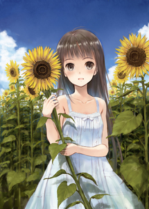 Rating: Safe Score: 0 Tags: 1girl :d arm_across_waist arm_up blue_sky blush brown_eyes brown_hair cloud day dress field flower flower_field fujita_hidetoshi happy holding holding_flower long_hair looking_at_viewer open_mouth original outdoors plant ribbon shiny shiny_hair sky sleeveless smile solo standing sundress sunflower sunlight white_dress white_ribbon yellow_flower User: DMSchmidt