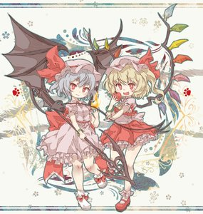 Rating: Safe Score: 0 Tags: 2girls :3 apple blonde_hair blush bow chibi closed_mouth eyebrows_visible_through_hair fang fire flandre_scarlet food fruit hat highres holding holding_food holding_fruit kolshica lavender_hair looking_at_viewer mob_cap multiple_girls open_mouth red_bow red_eyes red_footwear remilia_scarlet short_hair smile touhou_project white_footwear wings User: DMSchmidt