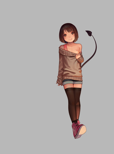 Rating: Questionable Score: 7 Tags: 1girl beige_sweater black_legwear breasts brown_eyes brown_hair clothes_pull demon_tail full_body highres kagamine-ikka looking_at_viewer nipples off-shoulder_sweater original pink_footwear tail User: Domestic_Importer
