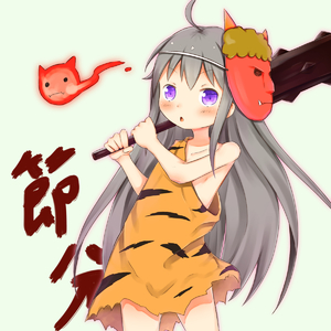 Rating: Safe Score: 0 Tags: 1girl ahoge animal_print asymmetrical_clothes bangs bare_arms bare_shoulders blush caveman closed_eyes club collarbone convenient_arm cowboy_shot grey_hair highres holding holding_weapon kanabou long_hair mask mask_on_head oni_mask original parted_lips purple_eyes setsubun solo spiked_club su_guryu tiger_print very_long_hair weapon User: DMSchmidt