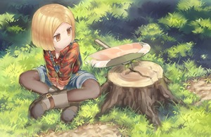 Rating: Safe Score: 0 Tags: 1girl axe black_legwear blonde_hair boots brown_eyes brown_footwear closed_mouth collared_shirt crossed_legs day fate/grand_order fate_(series) flannel grass long_sleeves looking_away looking_to_the_side monosenbei outdoors overall_shorts pantyhose paul_bunyan_(fate/grand_order) shirt short_hair sitting solo tree_stump useless_tags User: DMSchmidt
