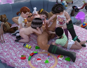 Rating: Explicit Score: 16 Tags: 1boy 3dcg 6+girls ass bare_arms bare_shoulders black_hair black_legwear blonde_hair brown_hair diaper flat_chest glasses harem hetero kneeling lying multiple_girls nopan nude on_back on_bed original pacifier penis photorealistic pussy shoes sleeveless_shirt slimdog socks spread_legs standing striped_legwear stuffed_animal stuffed_toy toddlercon toy uncensored white_shirt User: Domestic_Importer