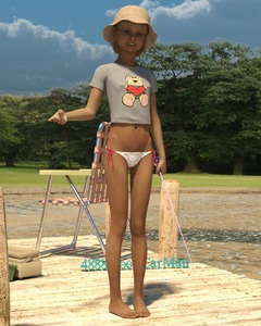 Rating: Questionable Score: 9 Tags: 1girl 3dcg 4888stockcarman barefoot bikini blonde_hair hat josephine looking_at_viewer navel nipples outdoors photorealistic pose shadow side-tie_bikini smile standing swimsuit water User: fantasy-lover