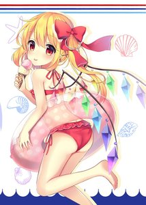 Rating: Safe Score: 1 Tags: 1girl :p absurdres ass bare_arms bare_legs bare_shoulders barefoot beads bikini blush bow crystal eyebrows_visible_through_hair feet_out_of_frame flandre_scarlet food from_behind hair_beads hair_between_eyes hair_bow hair_ornament hairclip halterneck highres holding holding_food ice_cream ice_cream_cone innertube leg_up long_hair looking_at_viewer looking_back no_hat no_headwear red_bikini red_bow ruhika seashell_hair_ornament side-tie_bikini side_ponytail silhouette smile solo star starry_background swimsuit thighs tongue tongue_out touhou_project white_background wings x_hair_ornament User: DMSchmidt