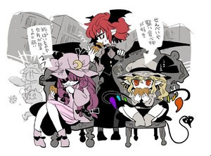 Rating: Safe Score: 0 Tags: 1boy 4girls alternate_hair_length alternate_hairstyle bangs black_skirt black_vest blonde_hair bow chair covering_mouth demon_wings dress eating fairy_maid flandre_scarlet goblin grey_legwear hair_between_eyes hair_bow hand_over_own_mouth hat hat_ribbon koakuma laevatein_(tail) long_hair long_skirt looking_at_viewer mob_cap multiple_girls patchouli_knowledge pointy_ears purple_dress purple_hair red_eyes red_hair ribbon short_dress short_hair side_ponytail sitting skirt socks tail touhou_project translation_request vest wings yt_(wai-tei) User: DMSchmidt