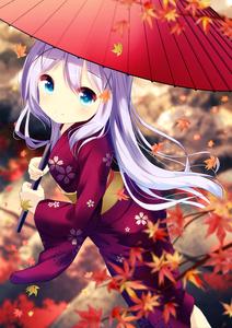 Rating: Safe Score: 0 Tags: 1girl blue_eyes chinomaron day floating_hair gochuumon_wa_usagi_desu_ka? hair_between_eyes highres holding holding_umbrella japanese_clothes kafuu_chino kimono leaf long_hair looking_at_viewer obi oriental_umbrella outdoors red_kimono red_umbrella sash silver_hair smile solo standing umbrella yukata User: DMSchmidt