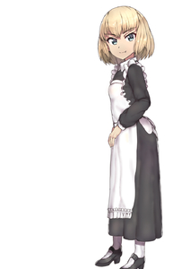 Rating: Safe Score: 0 Tags: 1girl alternate_costume apron bangs black_footwear black_shirt black_skirt blonde_hair blue_eyes blunt_bangs enmaided eyebrows_visible_through_hair fang_out from_side full_body girls_und_panzer highres katyusha long_skirt looking_at_viewer maid mary_janes shirt shoes short_hair sikijou77o simple_background skirt smile solo standing white_apron white_background white_legwear User: DMSchmidt