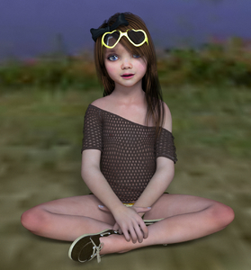 Rating: Questionable Score: 10 Tags: 1girl 3dcg blue_eyes bow brown_hair fishnets flat_chest hair_bow long_hair looking_at_viewer milana_k nail_polish nevyn nipples outdoors photorealistic pose shadow sitting smile sunglasses User: fantasy-lover
