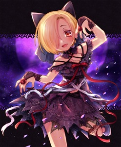 Rating: Safe Score: 0 Tags: 1girl :d arm_up babydoll bandages black_bow blonde_hair blue_footwear blush bow bridal_gauntlets brooch chromatic_aberration detached_collar dot_nose eyes_visible_through_hair flower hair_bow hair_over_one_eye head_tilt idolmaster idolmaster_cinderella_girls jewellery lace lace-trimmed_skirt lace_trim leg_garter looking_at_viewer mary_janes moon nail_polish necklace night night_sky open_mouth outstretched_arm pearl_necklace petals purple_babydoll purple_skirt red_eyes red_flower red_ribbon red_rose ribbon rose ruku_(ruku_5050) shirasaka_koume shoes short_eyebrows short_hair silk skirt skirt_set skull sky smile solo spaghetti_strap spider_web standing standing_on_one_leg upper_body zombie_pose User: DMSchmidt