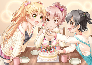 Rating: Safe Score: 0 Tags: 10s 3girls :d akagi_miria aran_sweater arm_rest birthday birthday_cake black_hair black_legwear blonde_hair blush bow bracelet breasts brown_eyes cake camisole candle cardigan chair cleavage cowtits cup elbow_rest eyebrows_visible_through_hair fangs feeding fingernails food frilled_skirt frills fruit green_eyes hair_between_eyes hair_bobbles hair_bow hair_ornament head_rest highres idolmaster idolmaster_cinderella_girls jewellery jougasaki_mika jougasaki_rika large_breasts long_hair long_sleeves looking_at_another mug multiple_girls off-shoulder_shirt off_shoulder one_side_up open_cardigan open_clothes open_mouth overalls pendant pink_bow pink_hair pink_skirt pinstripe_pattern plaid plaid_skirt plate regular_mow rhinoceros_beetle ring shirt short_hair siblings sisters sitting skirt smile spoon standing strawberry striped striped_bow sweater table thighhighs two_side_up vertical_stripes white_shirt User: Domestic_Importer