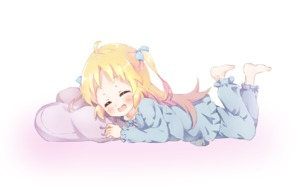 Rating: Safe Score: 0 Tags: 1girl barefoot blonde_hair blue_pajamas blue_pants blue_shirt charlotte_izoard closed_eyes legs_up long_hair lying mearian on_stomach open_mouth pajamas pants pillow ribbon ryuuou_no_oshigoto! shirt simple_background sleepwear smile solo two_side_up white_background User: Domestic_Importer