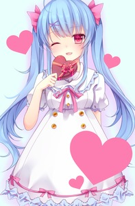 Rating: Safe Score: 0 Tags: 1girl ;d ahoge amashiro_natsuki blue_hair box chocolate chocolate_heart dress frilled_dress frills gift gift_box hair_ornament hairpin heart holding long_hair looking_at_viewer one_eye_closed open_mouth original pink_eyes puffy_sleeves smile solo twin_tails white_dress User: DMSchmidt