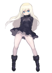 Rating: Questionable Score: 3 Tags: /\/\/\ 1girl arms_behind_back black_dress black_footwear blonde_hair blue_eyes boots breasts cleft_of_venus dress full_body fur_collar fur_trim highres johan_(johan13) long_hair looking_at_viewer no_pantie original User: Domestic_Importer