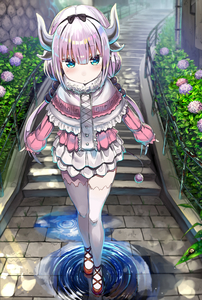 Rating: Safe Score: 1 Tags: 1girl absurdres bangs black_bow black_hairband blue_eyes blunt_bangs blush bow capelet center_frills closed_mouth day eyebrows_visible_through_hair flower fog frilled_capelet fur_collar greatmosu hair_bobbles hair_bow hair_ornament hairband highres horns hydrangea kanna_kamui kobayashi-san_chi_no_maidragon layered_skirt leaf long_hair long_sleeves looking_at_viewer low_twintails outdoors pink_hair plant puddle puffy_long_sleeves puffy_sleeves railing red_footwear reflection ripples rust shiny shiny_hair shoes skirt sleeves_past_wrists snail solo stairs stone_stairs tail thighhighs twin_tails very_long_hair water water_drop white_legwear white_skirt zettai_ryouiki User: Domestic_Importer