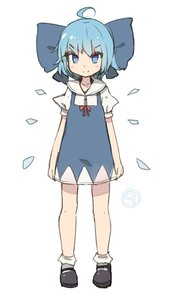 Rating: Safe Score: 1 Tags: (9) 1girl >:) ahoge arms_at_sides blue_bow blue_dress blue_eyes blue_hair blush_stickers bobby_socks bow cirno dress eyebrows_visible_through_hair full_body large_bow looking_at_viewer puffy_short_sleeves puffy_sleeves shoes shone short_sleeves simple_background smile socks solo touhou_project white_background User: Domestic_Importer