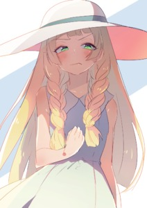 Rating: Safe Score: 1 Tags: 1girl >:( bangs bare_arms blonde_hair blunt_bangs blush braid closed_mouth collarbone collared_dress dress frown green_eyes hat lillie_(pokemon) long_hair looking_away looking_to_the_side pokemon pokemon_(game) pokemon_sm sleeveless sleeveless_dress solo sun_hat sundress twin_braids v-shaped_eyebrows white_dress white_headwear yuno_tsuitta User: DMSchmidt
