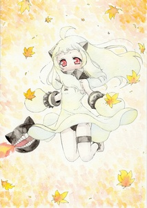 Rating: Safe Score: 3 Tags: 1girl absurdres ahoge anklet barefoot black_panties breathing_fire fire highres horns jewellery kantai_collection leaf long_hair maple_leaf mittens monster northern_ocean_hime open_mouth pale_skin pantsu red_eyes shinkaisei-kan solo traditional_media underwear watercolour_(medium) white_hair yuuki_chima User: DMSchmidt