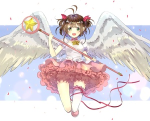 Rating: Safe Score: 0 Tags: 1girl :d bow brown_hair cardcaptor_sakura choker confetti dress green_eyes hair_bow highres hoshi_no_tsue kinomoto_sakura kona_(mmmkona) leg_garter magical_girl open_mouth puffy_short_sleeves puffy_sleeves ribbon short_sleeves single_thighhigh smile staff star thighhighs twin_tails white_legwear wings User: DMSchmidt