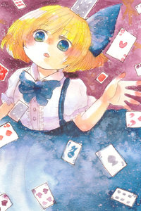 Rating: Safe Score: 0 Tags: 1girl alice_margatroid alice_margatroid_(pc-98) blonde_hair blue_eyes card hair_ribbon highres neck_ribbon ribbon shiz_(#0077) short_hair skirt solo suspender_skirt suspenders touhou_(pc-98) touhou_project traditional_media watercolour_(medium) younger User: DMSchmidt