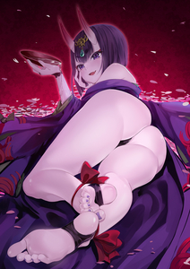 Rating: Safe Score: 10 Tags: 1girl alcohol ankle_ribbon ass barefoot barefoot_sandals blush cherry_blossoms cup eyebrows_visible_through_hair eyeshadow fang fate/grand_order fate_(series) feet gem head_rest headpiece highres horns japanese_clothes kimono long_sleeves looking_at_viewer lying makeup off_shoulder oni oni_horns open_mouth pale_skin petals pouring pov pov_feet purple_eyes purple_hair purple_kimono red_background ribbon sakazuki sake shiny shiny_skin short_hair shuten_douji_(fate/grand_order) smile soles solo toenail_polish toes xixi User: DMSchmidt