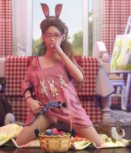 Rating: Questionable Score: 40 Tags: 1girl 3dcg animal_ears artist_request bracelet bunny bunny_ears clitoris earrings easter easter_basket easter_eggs flat_chest glasses hairband jewellery kneeling looking_at_viewer necklace panties_aside photorealistic pose pussy User: fantasy-lover