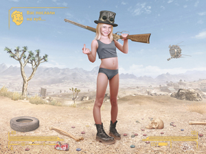 Rating: Explicit Score: 28 Tags: 1girl alex_(artist) artist_name blonde_hair boots cactus character_request covered_nipples green_eyes gun highres long_hair looking_at_viewer middle_finger pantsu photorealistic rifle skull smile solo standing uncensored underwear weapon User: editfag