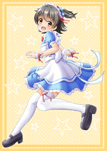 Rating: Safe Score: 0 Tags: 1girl :d akagi_miria apron black_footwear black_hair black_shoes blue_bow blue_dress blush bow brown_eyes dress eyebrows_visible_through_hair frilled_apron frilled_dress frills hair_between_eyes hair_bow head_tilt headdress highres idolmaster idolmaster_cinderella_girls looking_at_viewer looking_to_the_side maid maid_apron maid_headdress mary_janes open_mouth polka_dot polka_dot_background puffy_short_sleeves puffy_sleeves red_bow red_ribbon regular_mow ribbon running shoes short_sleeves smile solo star starry_background tareme thighhighs two_side_up white_apron white_bow white_legwear wrist_cuffs yellow_background User: Domestic_Importer