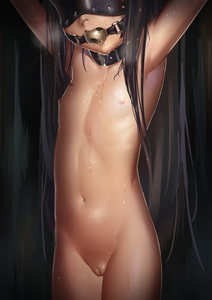 Rating: Questionable Score: 28 Tags: 1girl arms_up ball_gag bdsm black_hair blindfold bobomaster bondage bound cleft_of_venus collar flat_chest gag gagged groin long_hair navel nipples nude original pussy saliva saliva_trail solo uncensored User: DMSchmidt