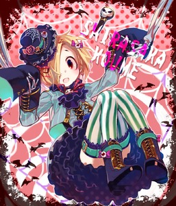 Rating: Safe Score: 0 Tags: 1girl :d ascot black_footwear black_hat black_neckwear blonde_hair boots character_name cross-laced_footwear earrings eyeball eyeball_hair_ornament flower hair_over_one_eye hat hat_flower highres idolmaster idolmaster_cinderella_girls jewellery kitaya lace-up_boots leg_belt long_sleeves looking_at_viewer mini_hat mini_top_hat open_mouth pink_flower red_eyes shirasaka_koume short_hair silk skull sleeves_past_fingers sleeves_past_wrists smile solo spider_web striped striped_legwear thighhighs top_hat vertical-striped_legwear vertical_stripes User: DMSchmidt