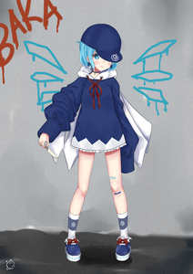 Rating: Safe Score: 0 Tags: (9) 1girl absurdres bandaid baseball_cap blue_eyes blue_hair blue_shoes bow choker cirno earrings food full_body hair_ornament hat highres holding hood hoodie ice_pop jewellery long_sleeves looking_at_viewer red_string sei_ichi_(shiratamamikan) shoe_bow shoes short_hair smile socks solo standing string touhou_project white_legwear User: Domestic_Importer