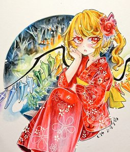 Rating: Safe Score: 0 Tags: 1girl blonde_hair blush chaka3464 comiket_94 eyebrows_visible_through_hair eyelashes feet_out_of_frame flandre_scarlet floral_print flower hair_flower hair_ornament hand_on_own_cheek japanese_clothes kimono orange_eyes ponytail ribbon shikishi sitting touhou_project traditional_media tree wings User: DMSchmidt