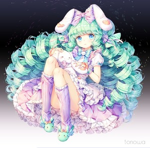 Rating: Safe Score: 0 Tags: 1girl animal_ears animal_slippers apron artist_name bangs blue_bow blue_eyes bow bowtie bunny bunny_ears bunny_slippers commission convenient_leg cutesu_(cutesuu) dress drill_hair eyebrows_visible_through_hair frilled_apron frilled_bow frilled_dress frills full_body gradient gradient_background green_footwear green_hair hair_bow hair_ribbon heart heart_print kneehighs knees_up lolita_fashion long_hair looking_at_viewer original parted_lips petticoat pigeon-toed puffy_short_sleeves puffy_sleeves purple_bow purple_legwear purple_skirt ribbon short_sleeves sidelocks skirt slippers socks solo stuffed_animal stuffed_bunny stuffed_toy tonowa very_long_hair white_apron wrist_cuffs User: DMSchmidt