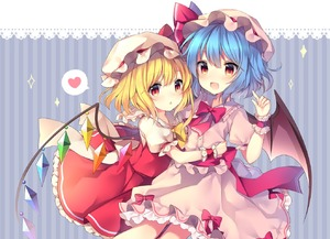 Rating: Safe Score: 0 Tags: 2girls bangs bat_wings blonde_hair blue_background blue_hair blush bow bowtie center_frills cowboy_shot crystal eyebrows_visible_through_hair flandre_scarlet frilled_shirt_collar frills hair_between_eyes hand_up hat hat_bow hat_ribbon heart hug index_finger_raised lace_trim long_hair looking_at_viewer mob_cap multiple_girls one_side_up open_mouth parted_lips petticoat pink_hat puffy_short_sleeves puffy_sleeves red_bow red_eyes red_neckwear red_ribbon red_sash red_skirt red_vest remilia_scarlet ribbon ruhika sash short_sleeves siblings sisters skirt skirt_set smile sparkle spoken_heart striped striped_background touhou_project vertical-striped_background vertical_stripes vest white_hat wings wrist_cuffs yellow_bow yellow_neckwear User: DMSchmidt