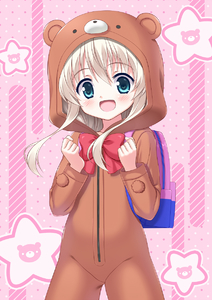 Rating: Safe Score: 2 Tags: 1girl :d animal_costume animal_ears backpack bag bangs bear_costume bear_ears bear_hood blue_eyes blush bow cowboy_shot eyebrows_visible_through_hair hair_between_eyes hand_up highres hinata_keiichi hood hood_up light_brown_hair long_hair long_sleeves open_mouth pink_background polka_dot polka_dot_background red_bow sidelocks smile solo standing takanashi_misha uchi_no_maid_ga_uzasugiru! User: DMSchmidt