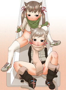 Rating: Questionable Score: 1 Tags: 2girls animal_ears cat_ears copyright_request equal multiple_girls nopan scarf thighhighs User: DMSchmidt
