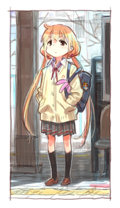 Rating: Safe Score: 0 Tags: 1girl alternate_costume bag bag_charm blonde_hair brown_eyes cardigan character_doll charm_(object) fugo futaba_anzu hands_in_pockets idolmaster idolmaster_cinderella_girls kneehighs loafers long_hair low_twintails matsuo_yuusuke moroboshi_kirari pleated_skirt school_bag school_uniform shoes sketch skirt solo standing tactile_paving train_station twin_tails very_long_hair User: Domestic_Importer