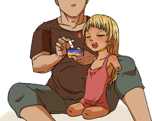 Rating: Safe Score: 2 Tags: 1boy 1girl age_difference amputee blonde_hair closed_eyes collarbone dress faceless faceless_male flat_chest holding long_hair open_mouth original pants quadruple_amputee sakurada_(lucky605strike) shiny shiny_skin shirt short_sleeves simple_background sitting sleeveless sleeveless_dress t-shirt teeth white_background User: Domestic_Importer