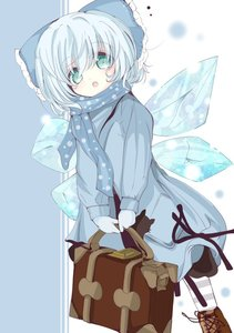 Rating: Safe Score: 0 Tags: 1girl alternate_costume animal_print aqua_hair bag black_ribbon blue_bow blue_coat bow cat_print cirno gloves green_eyes hair_bow ice ice_wings inasa_orange looking_at_viewer open_mouth polka_dot ribbon scarf shoes socks solo striped striped_legwear touhou_project wings User: DMSchmidt