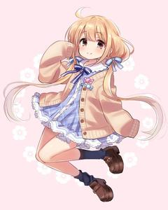 Rating: Safe Score: 0 Tags: 1girl ahoge bangs black_legwear blue21 blue_dress blue_neckwear blush bow bowtie brown_eyes brown_footwear cardigan collar dress eyebrows_visible_through_hair f frilled_collar frilled_dress frilled_skirt frills full_body futaba_anzu hair_ribbon idolmaster idolmaster_cinderella_girls light_brown_hair long_hair long_sleeves looking_at_viewer low_twintails open_cardigan open_clothes pink_background plaid plaid_dress ribbon shoes simple_background skirt sleeves_past_fingers sleeves_past_wrists smile socks solo tied_hair twin_tails very_long_hair yellow_cardigan User: Domestic_Importer