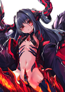 Rating: Safe Score: 3 Tags: 1girl absurdres black_bra black_hair bra claws crotch_plate demon_girl demon_horns demon_tail demon_wings eyebrows_visible_through_hair flat_chest haik hair_between_eyes hair_intakes head_tilt highres horns long_hair long_sleeves looking_at_viewer navel off_shoulder original parted_lips red_eyes revealing_clothes scales simple_background slit_pupils solo tail underwear white_background wings User: DMSchmidt