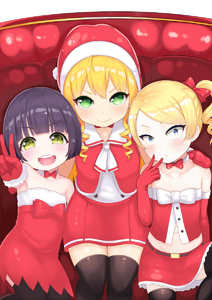 Rating: Safe Score: 3 Tags: 3girls :d atg_(wttoo0202) bangs bare_shoulders black_hair black_legwear blonde_hair blue_eyes blush bow breasts choker christmas closed_mouth collarbone couch dress elbow_gloves eyebrows_visible_through_hair fur-trimmed_dress fur-trimmed_gloves fur_trim girl_sandwich gloves green_eyes hair_bow hand_on_another's_shoulder hat head_tilt highres long_hair looking_at_viewer mittens multiple_girls navel on_couch open_mouth original outstretched_arm pleated_skirt red_bow red_dress red_gloves red_hat red_mittens red_shirt red_skirt ringlets sandwiched santa_gloves santa_hat shirt short_hair side_ponytail sidelocks sitting skirt sleeveless sleeveless_shirt small_breasts smile sparkle strapless swept_bangs thighhighs v v-shaped_eyebrows white_choker wide-eyed User: DMSchmidt
