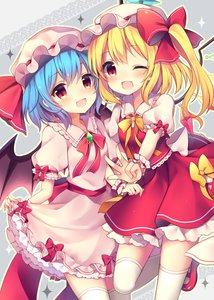 Rating: Safe Score: 0 Tags: 2girls :d absurdres bat_wings blonde_hair blue_hair blush bow crystal dress dress_lift eyebrows_visible_through_hair fang feet_out_of_frame flandre_scarlet frilled_shirt_collar frills grey_background hat hat_bow hat_ribbon highres lifted_by_self looking_at_viewer mary_janes mob_cap multiple_girls neck_ribbon one_eye_closed open_mouth petticoat pink_dress pink_hat puffy_short_sleeves puffy_sleeves red_bow red_eyes red_footwear red_neckwear red_ribbon red_sash red_skirt red_vest remilia_scarlet ribbon ruhika shoes short_hair short_sleeves siblings sisters skirt smile standing standing_on_one_leg thighhighs touhou_project v vest white_hat white_legwear wings wrist_cuffs yellow_bow yellow_neckwear yellow_outline yellow_ribbon zettai_ryouiki User: DMSchmidt